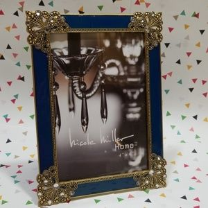 """Nicole Miller Metal & Crystal 4""""x6"""" Picture Frame"""